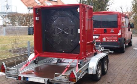Blower-Door-Test-Bus IBBurkhardt mit unserer Messeinrichtung EC-LME für die Luftdichtheitsprüfung großer Gebäude auf unserem Anhänger